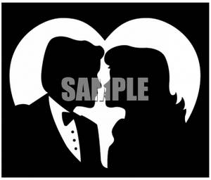 Silhouette Cut-Out of a Man And Woman