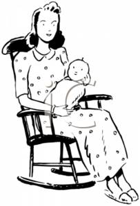 Vintage Mom and Baby in a Rockingchair