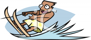 Cartoon Clipart Picture of a Man Water Skiing