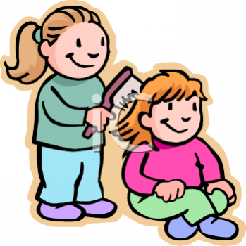 Clipart Picture of a Little Girl Brushing Another Girls Hair