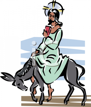 clipart image of jesus riding to jerusalem on a donkey on palm sunday