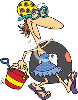 Cartoon Clipart Picture Of A Lady Going To The Beach