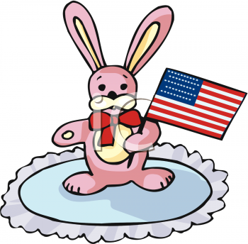 Toy Bunny Rabbit with a Flag