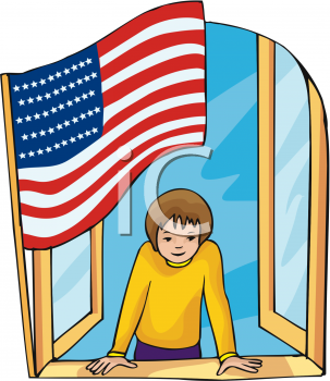 Boy at a Window with the U.S. Flag