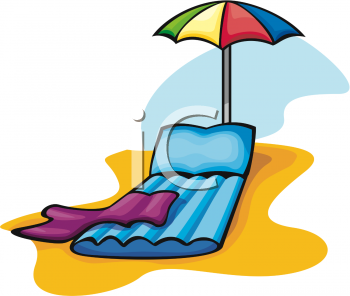 Clipart Picture of an Inflatable Beach Lounge Chair and Umbrella