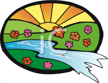Clipart Picture of a Sunrise in a Field of Flowers With a Stream