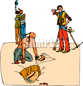 Royalty Free Clipart Picture of Cowboys and Indians Burying the ...
