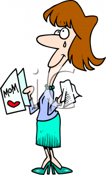 Mother Reading Mother's Day Card and Crying Clip Art