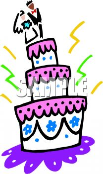 Wedding Cake with Bride and Groom on Top Clip Art