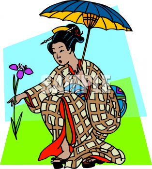 Japanese Geisha Girl with Umbrella Clip Art