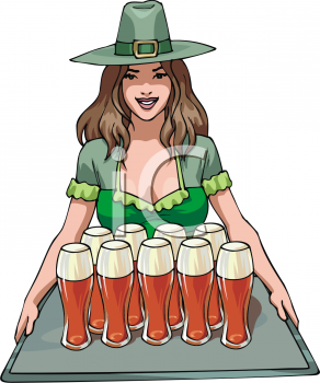 Barmaid Serving Ale on St. Patrick's Day
