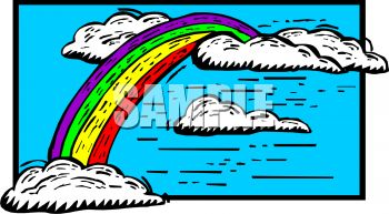 Rainbow and Puffy White Clouds Clip Art
