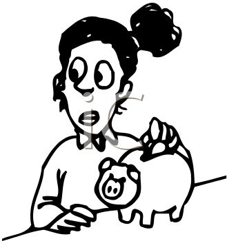 Girl Saving Money by Putting Coins in Piggy Bank Clip Art