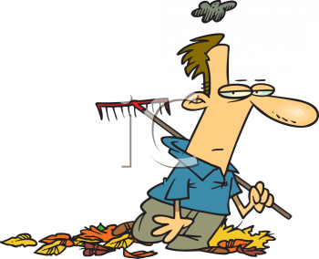 Man Raking Leaves in The Fall Clip Art