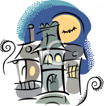 Haunted House with a Bat and Full Moon Clip Art