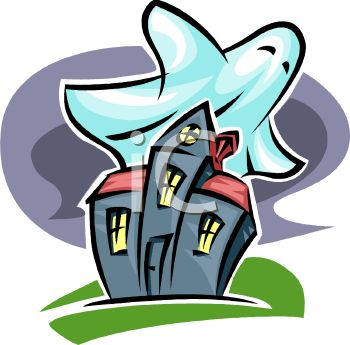 Haunted House with Ghosts Clip Art