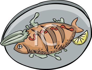 Plate of Seafood Clip Art