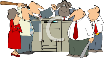 Angry Mob Attacking an Office Copier