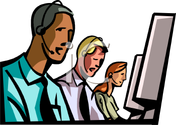 People Working at Computers Talking on Headsets Clip Art