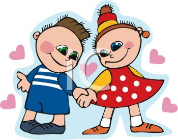 Happy Little Boy And Girl Holding Hands And Smiling. Isolated.. Royalty  Free Cliparts, Vectors, And Stock Illustration. Image 80319682.