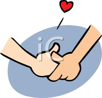 Couple In Love Holding Hands Cartoon Clip Art