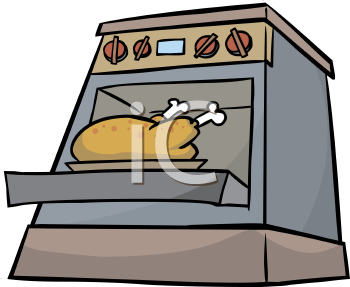 Thanksgiving Turkey Roasting in the Oven Clip Art