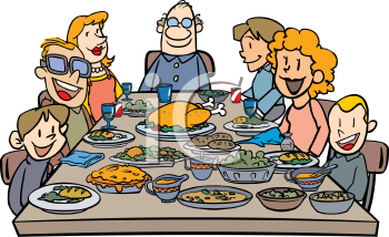Family Eating Thanksgiving Dinner Clip Art