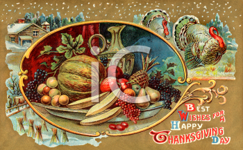 Vintage Thanksgiving Postcard Clip Art