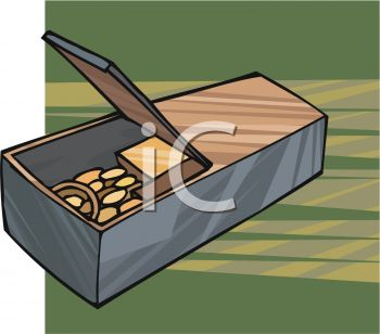 Safety Depoit Box Full of Coins Clipart