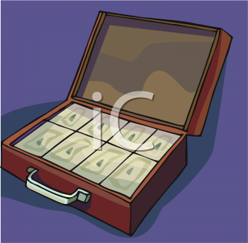 """This """"briefcase full of money clip art"""" clipart image is available through a"""