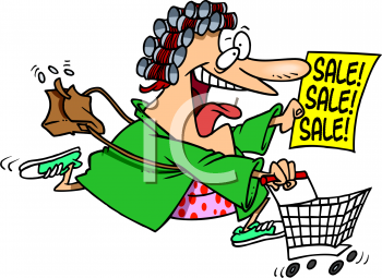Excited Woman Rushing to a Sale Clip Art