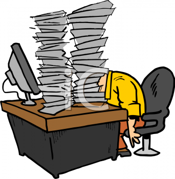 Cartoon of an Office Worker with Tons of Paperwork