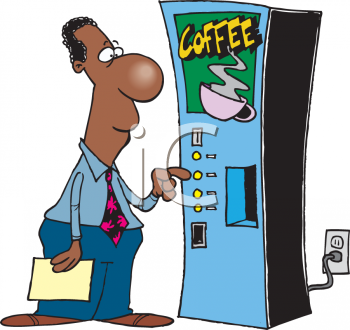 Cartoon of  an African American Office Worker Getting Coffee Clipart