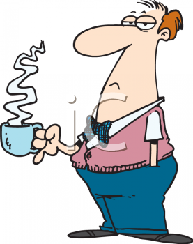 Cartoon of a Grouchy Man Taking a Coffee Break Clipart
