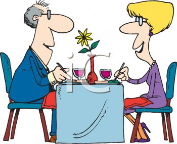 Cartoon of  a Couple On a Date Clipart