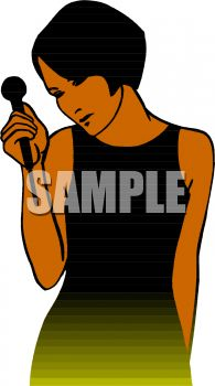 African American Woman Holding a Microphone Clip Art