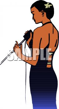 Beautiful Black Woman Singing Clip Art