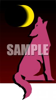 Wolf Howling at the Moon Clip Art