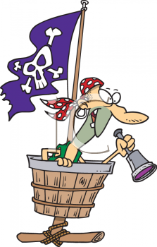 Pirate in the Crows Nest with Telescope Clip Art
