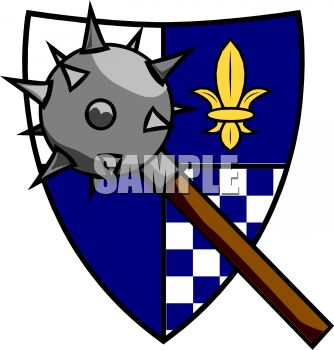 morning star spiked weapon and a coat of arms clip art royalty rh clipartguide com coat of arms supporters clipart coat of arms supporters clipart