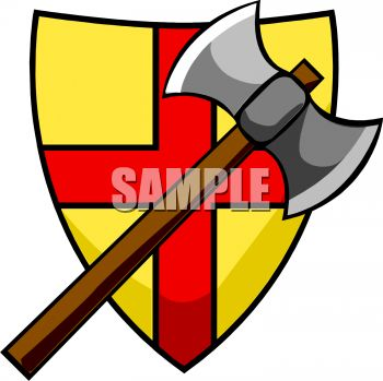 Battle Axe and Coat of Arms Clip Art