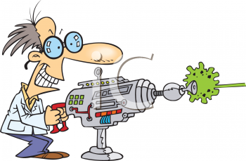 Mad Scientist Shooting a Laser Gun Clipart