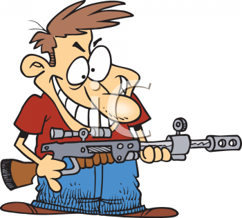 Cartoon of a Redneck with a High Powered Rifle Clip Art