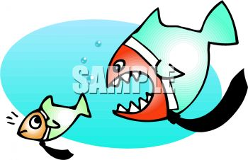 Big Fish Eating the Little Fish Clip Art