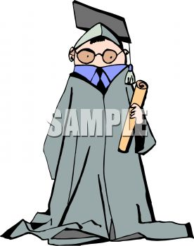 Young Graduate in Cap and Gown Clip Art