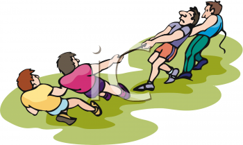 Men Playing Tug of War Clip Art