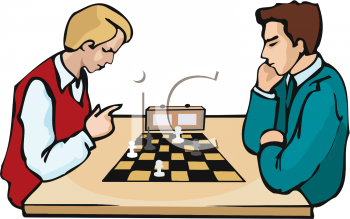 Men Playing in a Chess  Tournament Clip Art