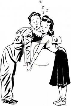 Black and White Vintage Image of a Couple in a Dance Off Clip Art