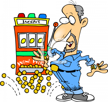 Cartoon of a Man Winning a Jackpot
