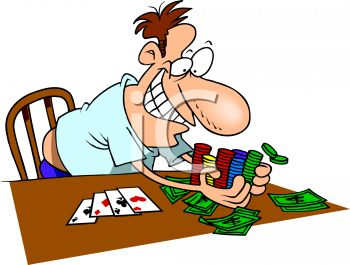 Man Winning at Poker Clip Art